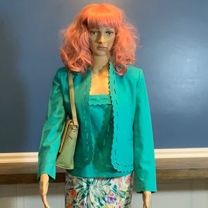 Vintage poly/linen turquoise jacket and tank
